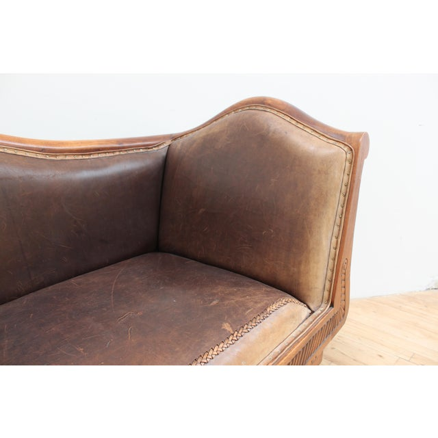 Mahogany Chippendale Bench Sofa - Cape Buffalo Leather For Sale In San Francisco - Image 6 of 12