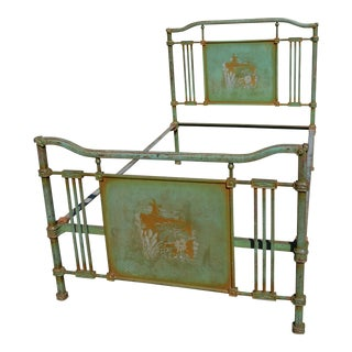 1800's Antique European Cast Iron Steel Green Shabby Chic Scenic 3/4 Bed Frame For Sale