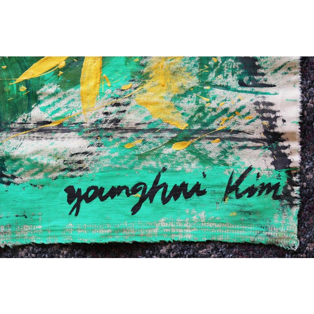 Korean Abstract Expressionist Textile Fabric Painting by Younghui-Kim - Image 6 of 9