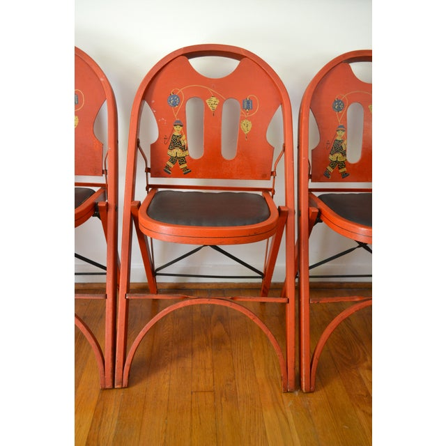 Louis Rastetter Red Folding Chairs- Set of 4 - Image 7 of 7