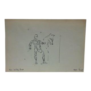 "1950s Vintage Semaj ""Man Leading Horse"" Original Drawing For Sale"