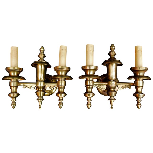 Solid Brass Sconces - a Pair For Sale