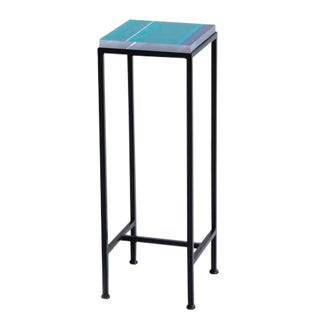 Contemporary Ellsworth Acrylic Drinks Table – Base: European Blue, Top: Stripes Oceania For Sale