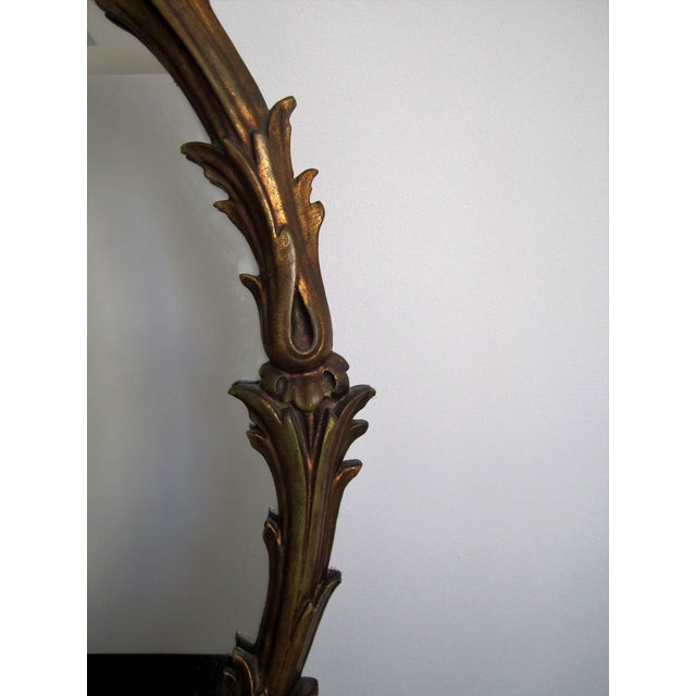 Italian Oval Gold Giltwood Carved Wall Mirror For Sale - Image 4 of 8