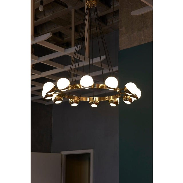 Mid-Century Modern Huge Stilnovo Style Brass and Murano Glass Chandelier For Sale - Image 3 of 13