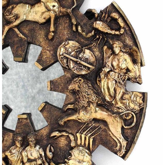 Bronze Round Zodiac Sunburst Wall Mirror For Sale - Image 7 of 9