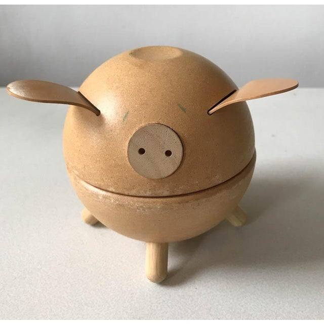 Animal Skin Vintage Danish Piggy Bank With Leather Ears For Sale - Image 7 of 7