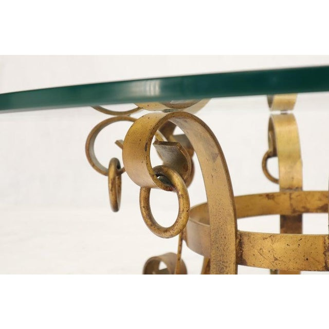 Mid 20th Century Round Decorative Gilt Wrought Iron Base Glass Top Sunburst Coffee Table For Sale - Image 5 of 13