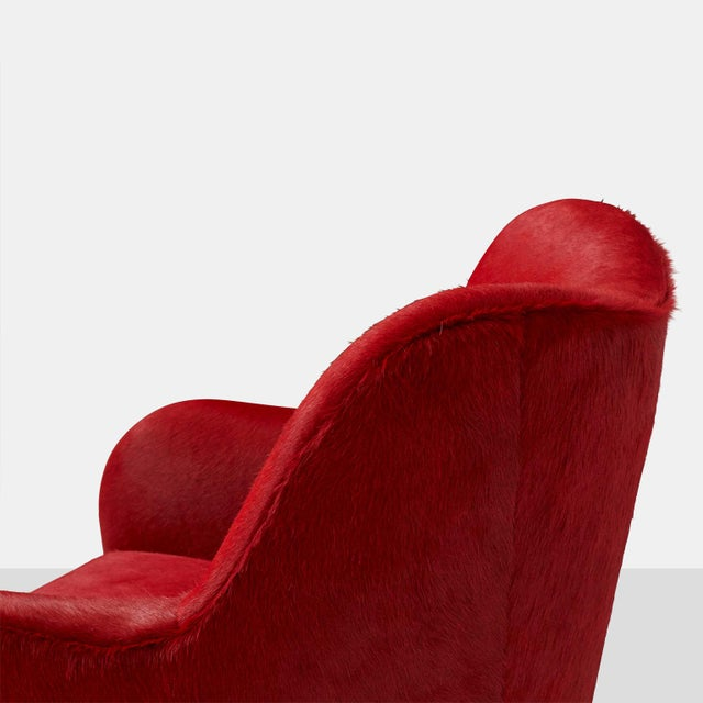 Red Pair of Club Chairs by Joaquim Tenreiro For Sale - Image 8 of 10