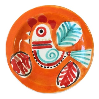 1970s Vintage DeSimone Italian Pottery Rooster Plate For Sale