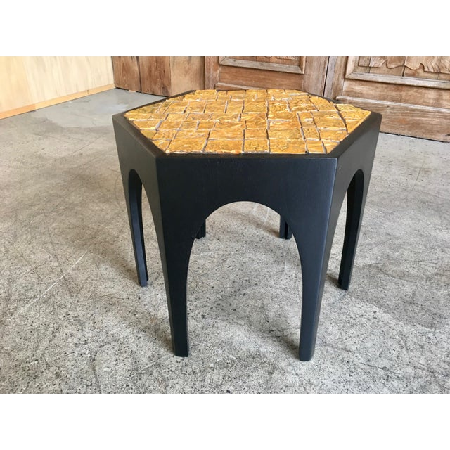 Wood Mid-Century Modern Brutal Tile Top Side Table For Sale - Image 7 of 7