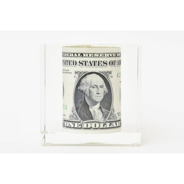 Modern Vintage Dollar Bill Lucite Sculpture / Paperweight For Sale - Image 3 of 10