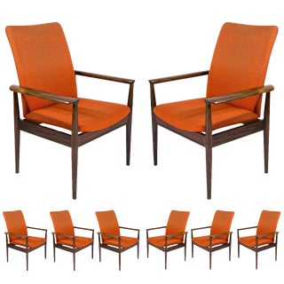 "Set of Eight Rosewood Finn Juhl ""Diplomat"" Armchairs For Sale"