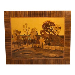 Autumn Scene #164 Large Wood Inlay Marquetry Wall Art Picture For Sale