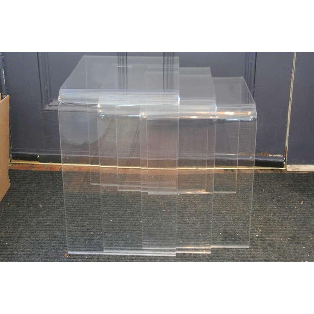 White Set of Three Acrylic Lucite Nesting Tables For Sale - Image 8 of 8