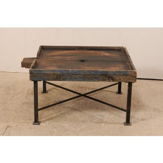 19th Century Spanish Wood Olive Trough Coffee Table With Modern Metal Base Preview