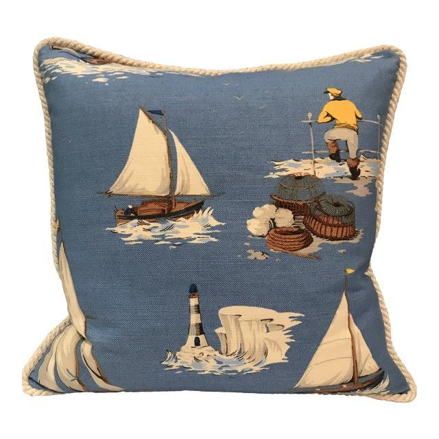 Nautical Scalamandre Breezy Point Blue Linen Print Pillow #2 For Sale