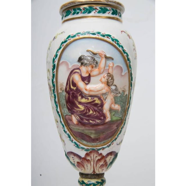 Ceramic 19th Century Pair of Italian Porcelain Capodimonte Vases as Table Lamps For Sale - Image 7 of 8