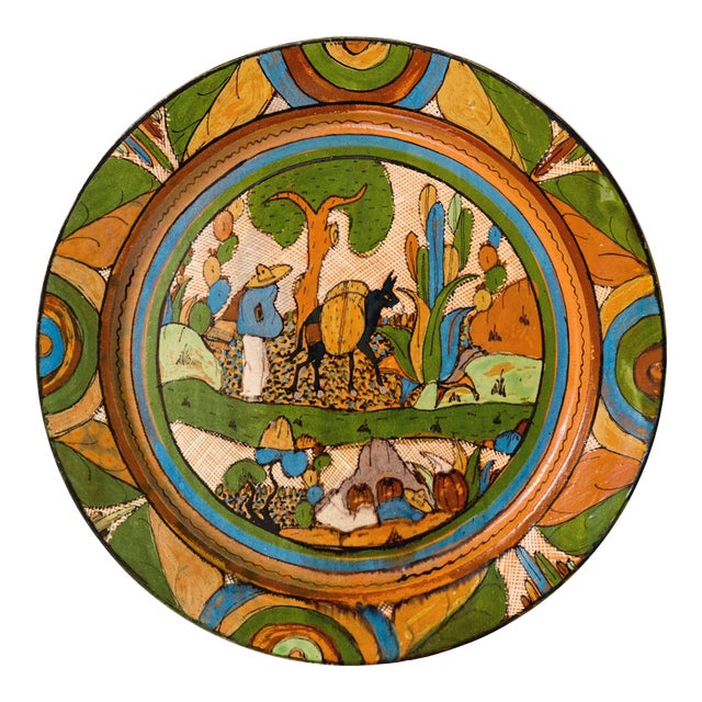 Tlaquepaque 1930s Mexican Hand-Painted Ceramic Charger Tray For Sale