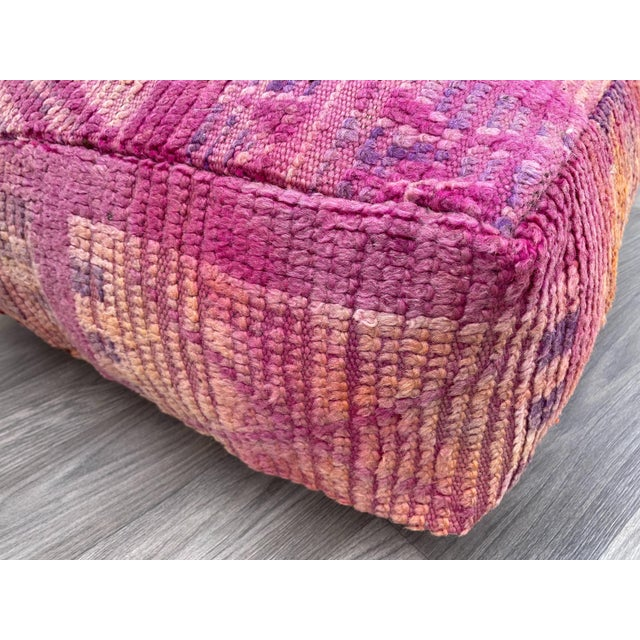 Berber Tribes of Morocco Hand Woven Berber Moroccan Pouf Cover For Sale - Image 4 of 13