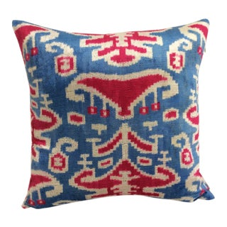 Blue and Red Silk Velvet Ikat Accent Pillow