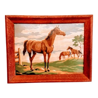 Vintage Mid Century Horse PBN Equestrian Painting by Number For Sale