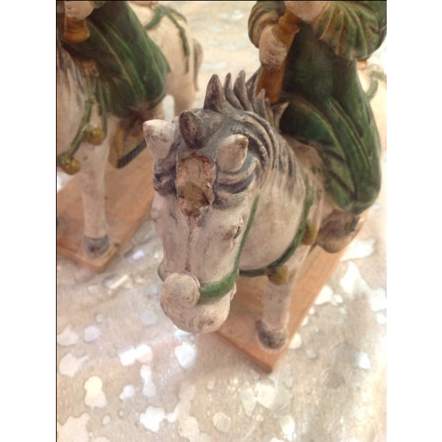 Antique Glazed Pottery Riders - Pair - Image 4 of 5