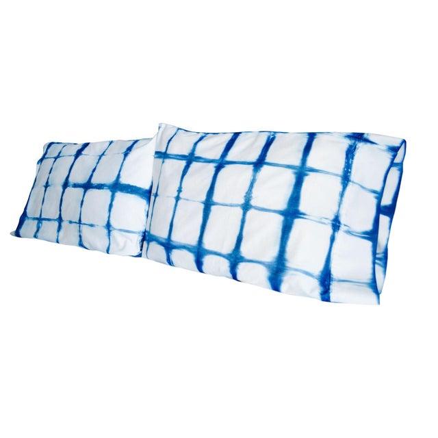 Shibori Standard Indigo/White Pillowcases - Pair - Image 1 of 4