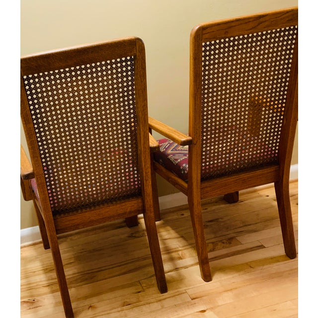 Sand Mid-Century Lou Hodges Style Tall Cane Back Chairs- A Pair For Sale - Image 8 of 9