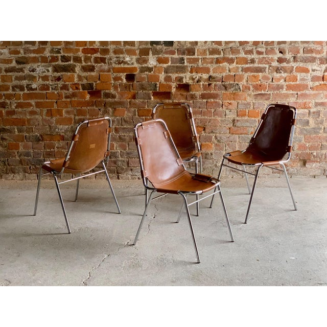 Les Arcs Leather Tan Dining Chairs, 1970s - Set of 4 For Sale - Image 10 of 11