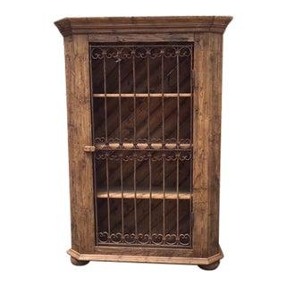 European Pine Display/Wine Cabinet For Sale