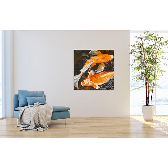 """2010s Laurie Flaherty """"Murmur"""" Contemporary Koi Fish Realist Oil Painting For Sale - Image 5 of 6"""