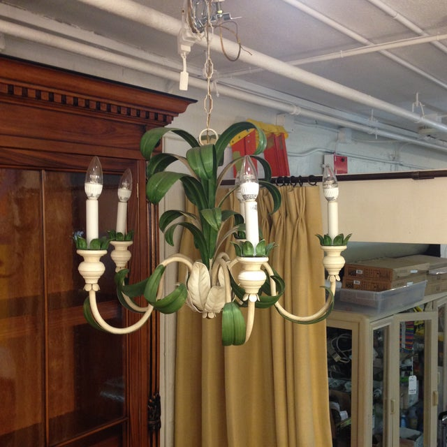 Hand Painted Green French Reproduction Chandelier - Image 2 of 9