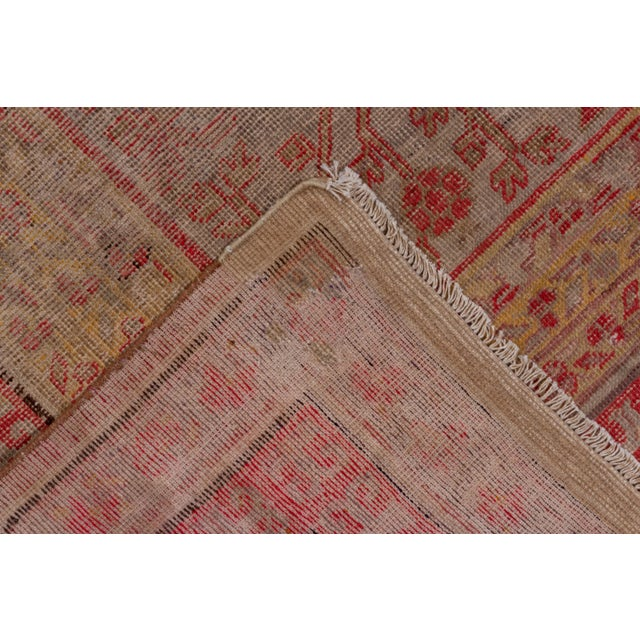 1910s Boho Chic Colorful Khotan Gallery Carpet - 6′8″ × 13′4″ For Sale - Image 5 of 9