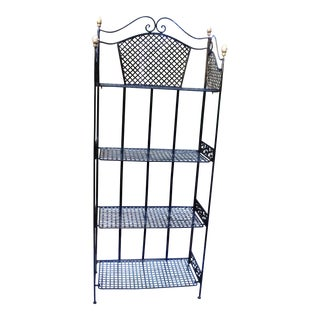 Vintage Country Cottage Wrought Iron Bakers Rack, With a Flat Folding Feature