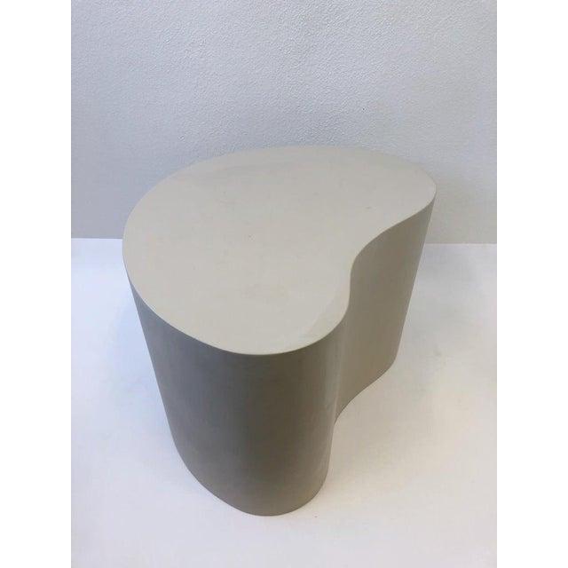Leather Kidney Shape Side Table by Karl Springer For Sale - Image 9 of 10