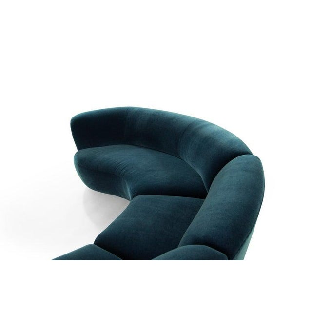 Vladimir Kagan for Directional Sectional in Teal Mohair, Circa 1970s For Sale - Image 9 of 12