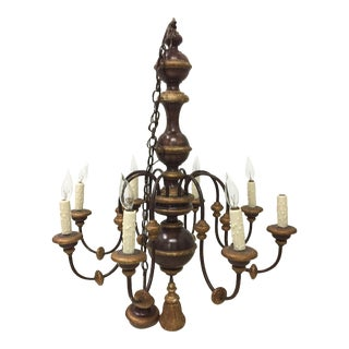 Gilt Wood & Iron Eight Light Chandelier
