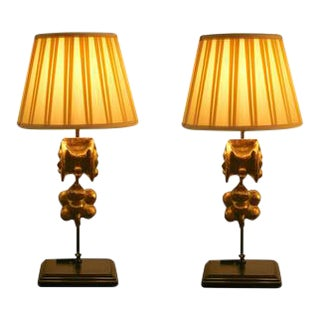 Antique French Giltwood Fragment Lamps - a Pair For Sale
