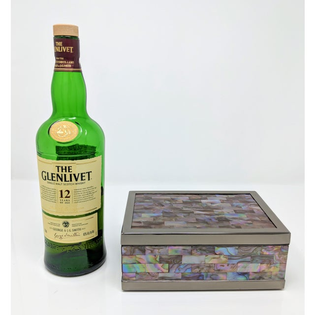 Jonathan Adler Jonathan Adler Inspired Polish Gun Metal & Abalone Shell Box For Sale - Image 4 of 12