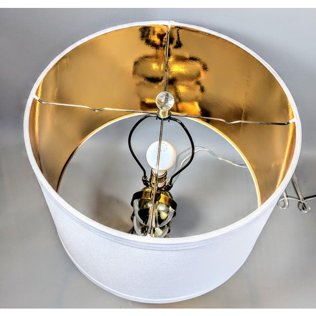White Global Views Crystal Ball Lamp in Brass With Linen & Gold Lined Shade - a Pair For Sale - Image 8 of 13