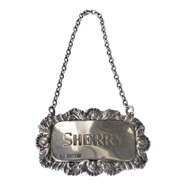 """Sherry"" Sterling Silver Decanter Label For Sale"