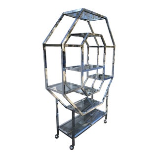 Modern Chrome Cubist Etagere For Sale