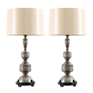 Majestic Pair of Pewter and Brass Marbro Lamps For Sale
