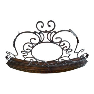 1970s French Iron and Wood Fireplace Screen For Sale