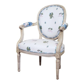 French Louis XVI Style Cream Floral and Green Distress Painted Armchair For Sale