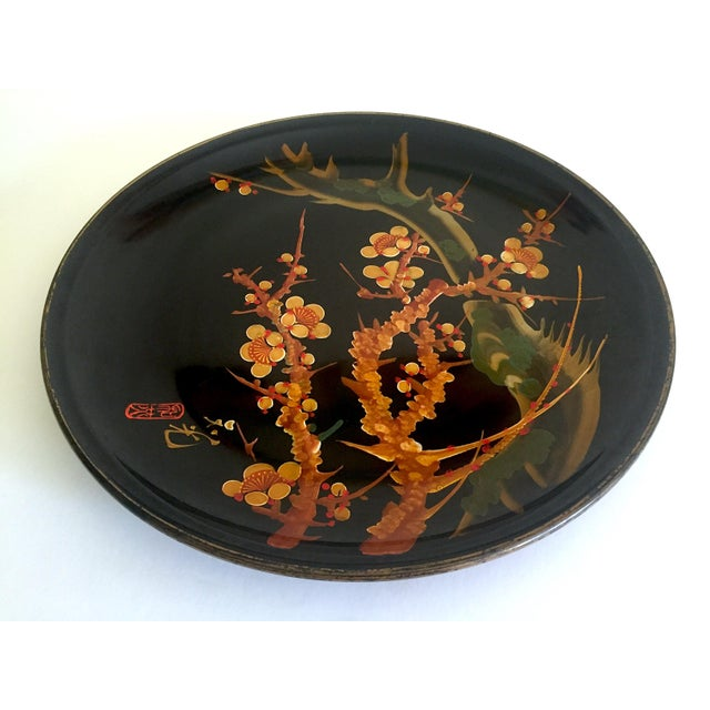This vintage Mid Century Japan hand painted flower branch blossoms large round lacquer tray platter is a very special and...