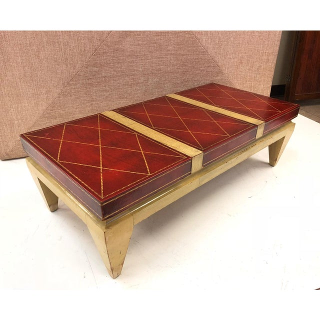 Leather Top Coffee Table Style of Tommi Parzinger For Sale In New York - Image 6 of 6