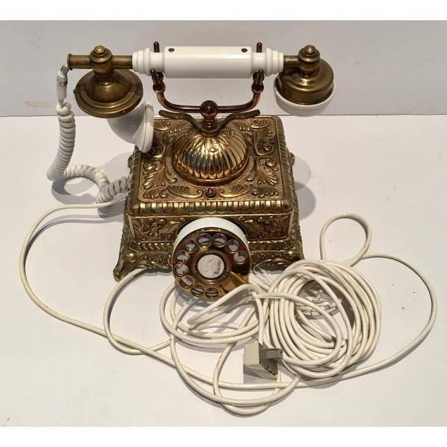 Vintage French Style Brass Telephone For Sale - Image 4 of 7