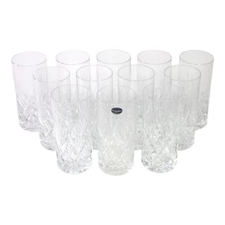 "Vintage Czech Crystal ""Bohemia"" Cut Lead Highball Cocktail Glasses - Set of 12 For Sale"